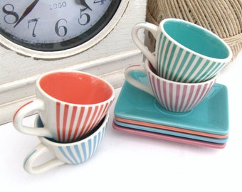 Set of Four Yves Rocher Striped Espresso Cups and Saucers, LBVYR Yves Rocher. Espresso Cups and Saucers,