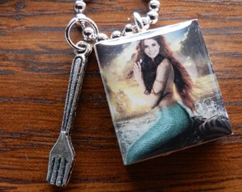 Once Upon A Time Ariel Scrabble Tile Pendant Necklace With Dinglehopper Fork Charm
