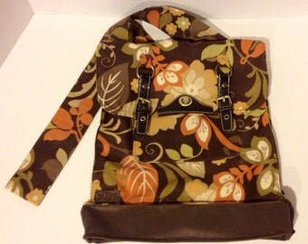 Backpack, Crossbody, Shoulder Bag, Fall Colored Leaf and Plant Print on Brown Canvas