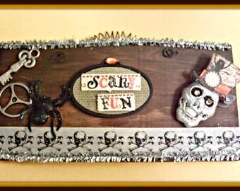 Steampunk Halloween Skull sign