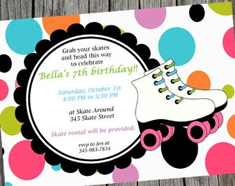 Skating Party Invitation, Roller Skating Invite, Skating Birthday Invitation, Skate Party Invite, Digital Invite, Roller Skating