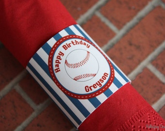 Baseball Party Personalized Printable Napkin Ring Band