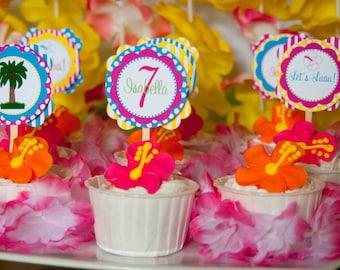 Hawaiian Luau, Luau Party, Luau, Hawaiian Luau Party, Hawaiian Party, Party Circles, Cupcake Toppers