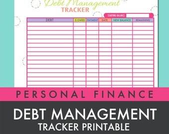 Debt Management Tracker Worksheet Printable PDF - INSTANT DOWNLOAD