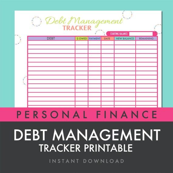 Debt Management Tracker Worksheet Printable PDF INSTANT