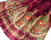 Burgundy Mini Skirt: Gypsy Skirt, Boho Skirt, Short Flowy Indian Skirt or Bohemian Floral Sequin Cover Up in Burgundy