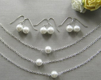 SET of 8 bridesmaid necklace and earring set, bridesmaid necklaces, bridesmaid gift wedding jewelry white ivory pearl custom color W001S