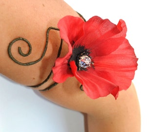 Poppy  accessories upper arm cuff armlet armband red flower and vine gypsy festival dance jewelry accessorie