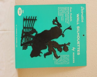 Vintage Black  Western / Bull Riding Cowboy Silhouette Wall Hanging - Bucking Bronco