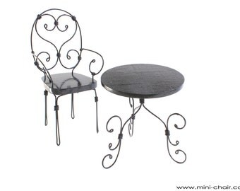 1/6 scale Black Table and Chair /wrought iron /French bistro set for Fashion dolls (Blythe, Pullip, Barbie, BJD, Momoko) Miniature furniture