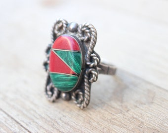 Taxco RING / Size 9 / Vintage Involved Inlay Jewelry  / Sterling Silver Coral and Malachite Size 9