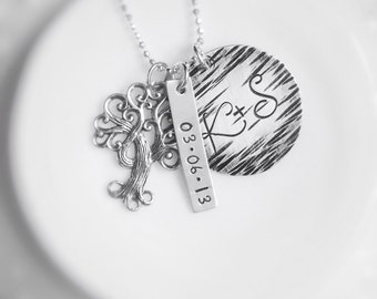 Personalized Tree Necklace Initials Carved Anniversary Special Date Wedding Sterling Silver