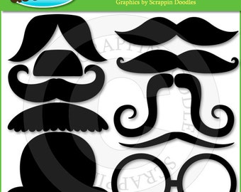 Moustache Clip Art with Line Art