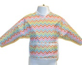 Shirt Saver Full Coverage Baby or Toddler Bib With Long Sleeves and Pocket- chevron