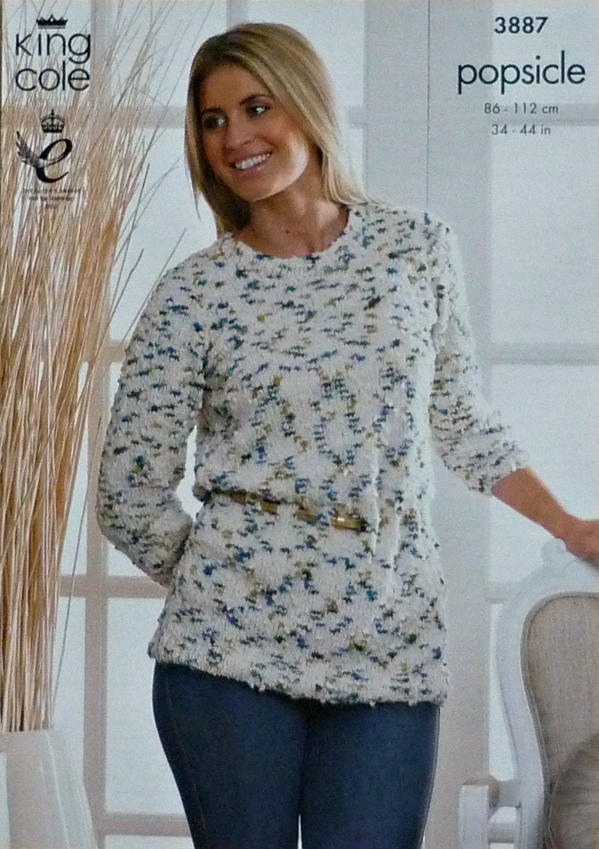 Knitting Patterns For Popsicle Wool : Womens Knitting Pattern K3887 Ladies 3/4 Sleeve Round Neck ...