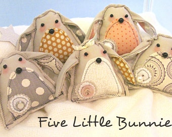 Spring Bunnies, Folk Art Bunny Pattern, Bohemian, Baby Mobile,DIY, Sewing Pattern, Instant Download