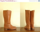 vintage boots / brown leather and wood heel boots / size 10