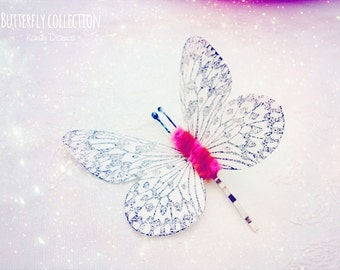 Butterfly Hair clip. White fuchsia Butterfly bobby pin Bridal Bridesmaid hair. Butterfly hair Wedding butterfly hair monarch butterfly