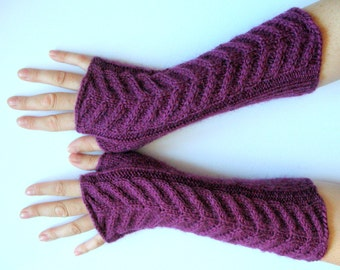 """Long Fingerless Gloves Purple Violet 11"""" Arm Warmers Mittens Soft Acrylic Mohair"""