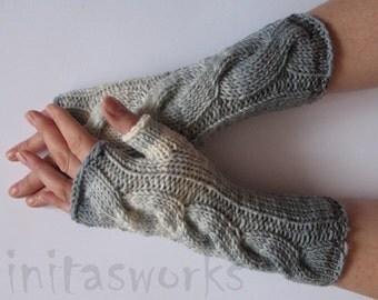 Fingerless Gloves Gray White Arm Warmers Knit Soft