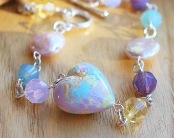Bracelet Sterling Silver Polymer Clay Spring Flower Valentine Heart Swarovski Crystal Opal