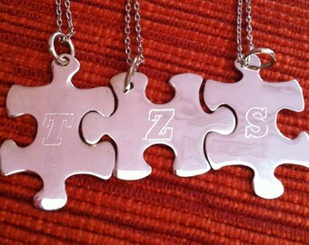 Sterling silver Puzzle piece necklace, Set of 3,personalized  bridesmaid jewelry, bridal party gifts