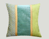 "Decorative Pillow case, Green, Grey, Gold colors, Decorative fabric Throw pillow case, fits 18""x18"" insert, Cushion case, Toss case"