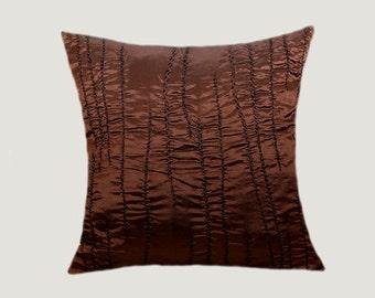 "Decorative Brown Copper Textured fabric Throw pillow case, fits 18"" x 18"" insert, Toss pillow case, Cushion case"