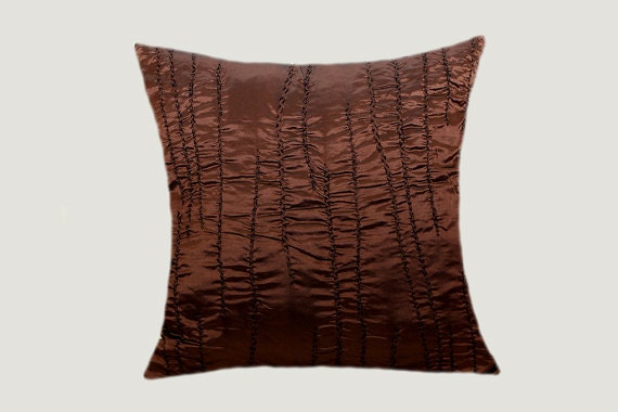 Decorative brown copper textured fabric throw pillow case - Fabric for throw pillows ...