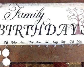 Family Birthday Board Wall hanging, reminder, calendar, organizer, family tree plaque
