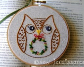 Embroidery Pattern Holiday Christmas Owl with Wreath