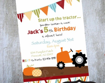 PUMPKIN PATCH Invite Printable Birthday party invitation by Luv Bug Design