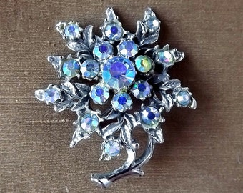 Silver tone brooch aurora borealis stones, from France