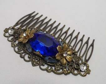 Antique brass comb sapphire blue comb wedding comb hair accessories filigree comb rhinestone comb blue comb wedding accessories bridal comb