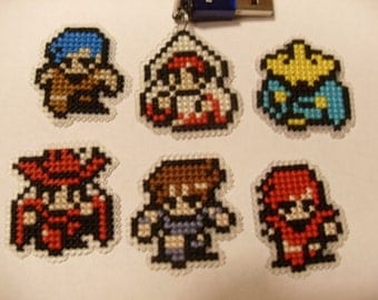 Cross Stitched Final Fantasy 1 Classes zipper charm, pin, or magnet
