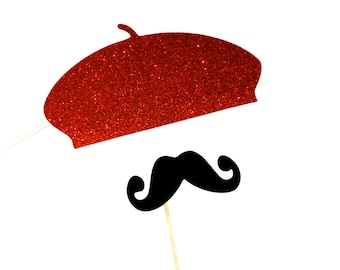 Photo Booth Props - RUBY RED GLITTER Beret and Mustache Set - Set of 2 Props - Birthdays, Weddings, Parties - Valentine's Day Props