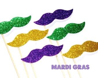 Mardi Gras Glitter Mustache Collection - Set of 6 - Purple, Green and Gold Glitter Staches