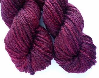 Bulky Yarn - Hand Dyed Superwash Merino Wool in Cranberry Bog Colorway