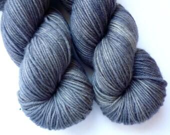 Hand Dyed DK Yarn - Superwash Merino Wool Yarn in Gray Matter Colorway