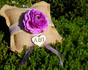 Ring Bearer Pillow Purple silk flower over 45 different flowers and 35 ribbon to select from