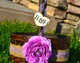 Personalized Flower Girl Basket over 60 different flowers and 35 ribbon to select from