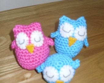 Trio of Amigurumi Owls