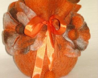 Wool Felt Orange Drawstring Womens Handbag with Flowers, Handmade OOAK Bag, Pouch, Purse, Sack, Evening, Bridal Bag Gift idea, Wearable Art
