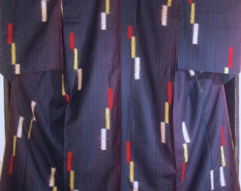 Vintage Japanese Kimono - Navy Blue w/ Red Pin Stripes and Color Blocks - Like New.