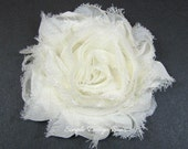 "Ivory Hair Flower - Bridal Hair Flower - Ivory Flower Clip - 2 1/2"" Frayed Chiffon Flower - Shabby Chic Hair Clip or Brooch - SOPHIE FLOWER"