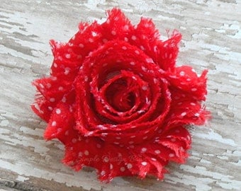 """Red Hair Flower - Red Flower Clip - Red and White Polka Dot - 2 1/2"""" Frayed Chiffon Flower - Shabby Chic Hair Clip or Brooch - SOPHIE FLOWER"""