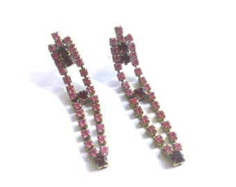 Red Rhinestone Earrings Retro Mad Men Statement Fashion Party Jewelry