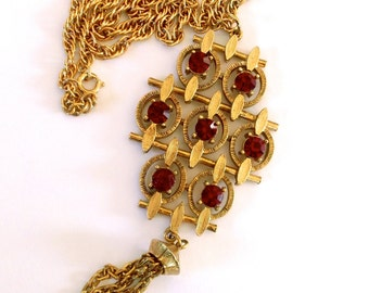 Red Rhinestone Modernist Pendant Necklace Mad Men Retro Vintage Jewelry