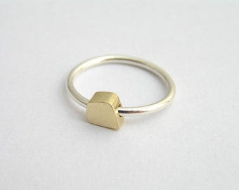 Delicate Ring - 14k Gold and Silver Cube Ring - Solid Gold and Sterling Silver Combination