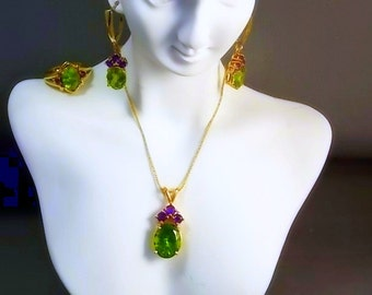 Peridot and Amethyst Set Ring Earrings and Pendant 22 inch chain 14K Yg Set is 14.5gm Ring 8.5